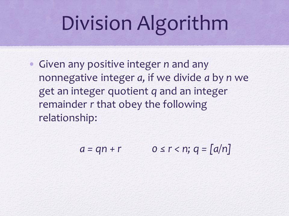 a = qn + r 0 ≤ r < n; q = [a/n]